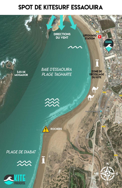 Essaouira plan du spot de kitesurf